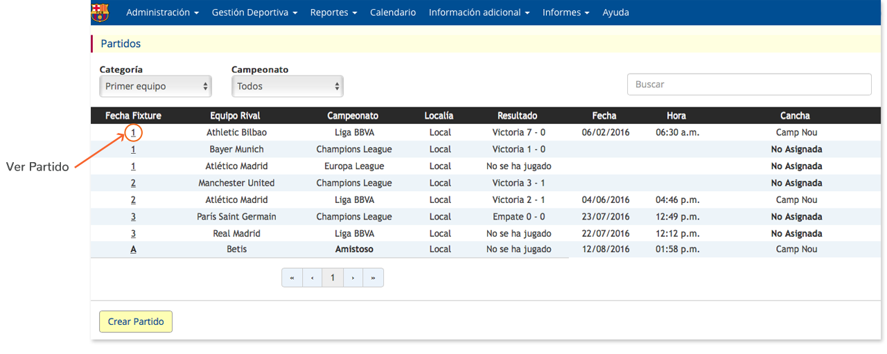 clubmanager - gestion deportiva - ver partidos
